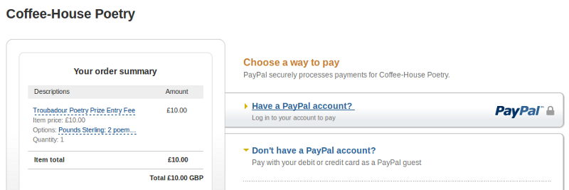 PayPal screen
